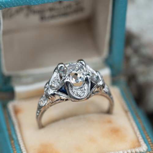 1920's Old Mine Cut Diamond Antique Engagement Ring