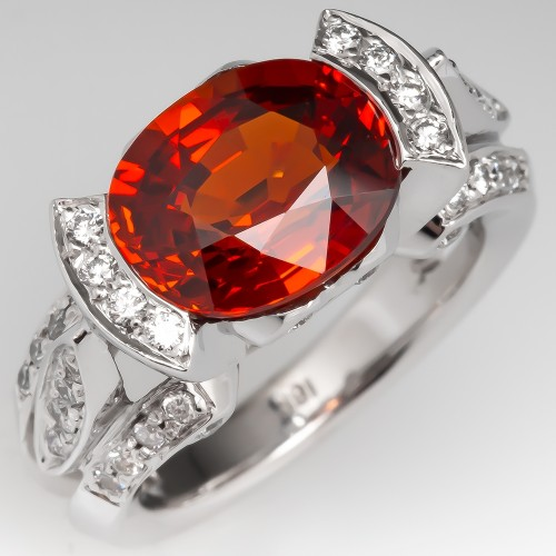 5.7 Carat East-West Set Oval Orange Spessartite Garnet Ring