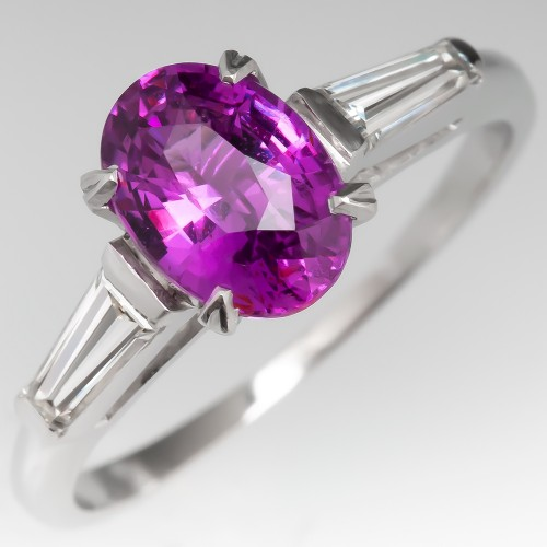 1960's Pink Sapphire Engagement Ring w/ Tapered Baguette Diamonds