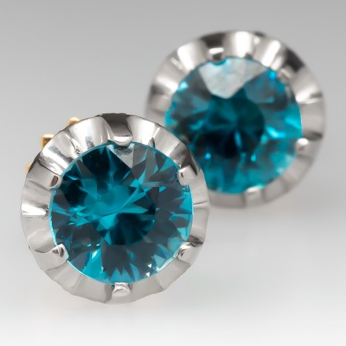 Antique Zircon Earrings Buttercup Studs 18K Gold