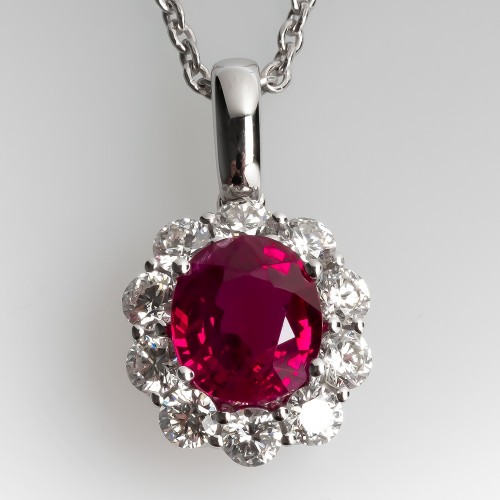 2.3 Carat Oval Ruby Pendant White Gold Diamond Halo