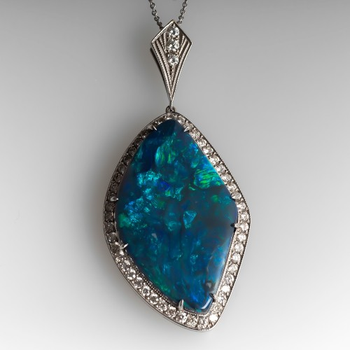 Spectacular Large Black Opal Pendant Necklace w/ Diamonds 18K