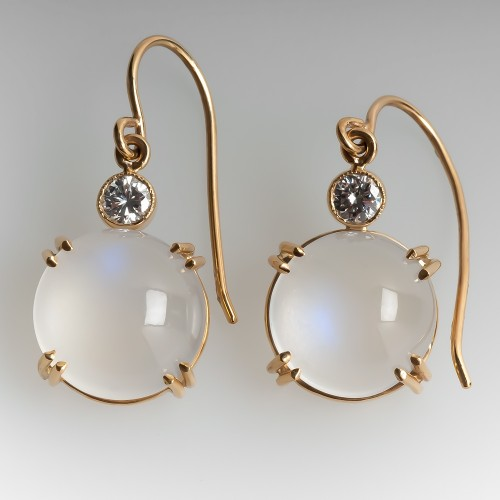 Moonstone & Diamond Drop Earrings 14K Yellow Gold