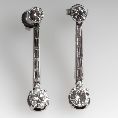 1950's Dangle Style Diamond Earrings 18k White Gold