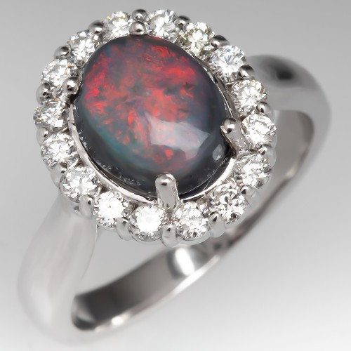 Black Opal & Diamond Halo Engagement Ring 14K White Gold
