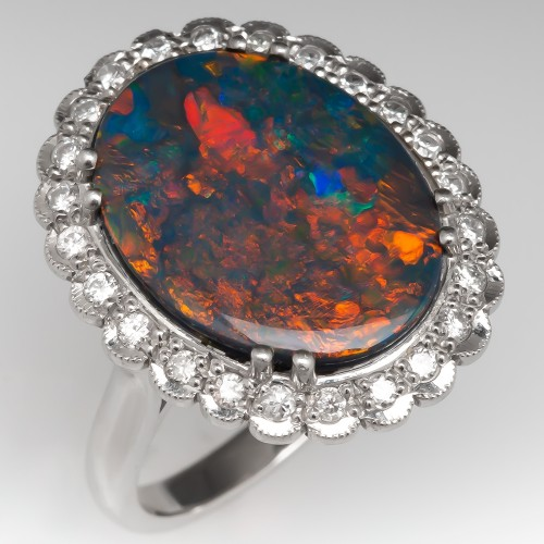 3.7 Carat Black Opal Platinum Ring w/ Diamond Halo