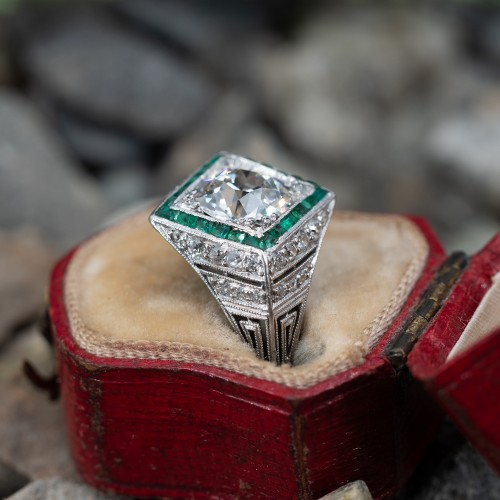 1920's Art Deco Engagement Ring Old Euro Diamond w/ Emerald Halo
