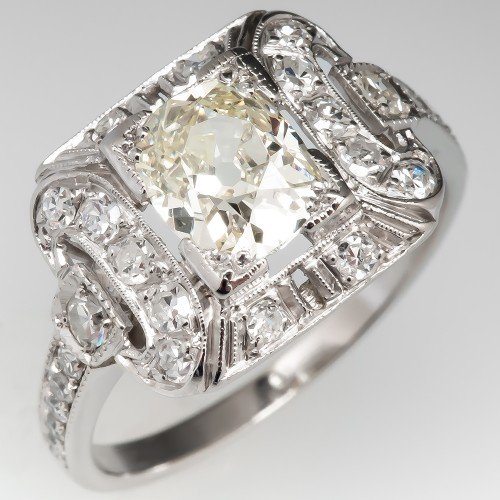 Antique Old Mine Cut Diamond Engagement Ring Detailed Platinum