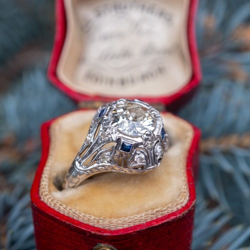 Art Deco Engagement Ring Old Euro Diamond w/ Sapphire Accents