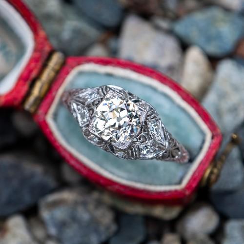 1920's Filigree Engagement Ring Old Euro Diamond Platinum