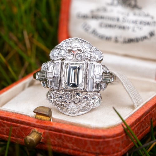 Magnificent Antique Diamond Engagement Ring Detailed Platinum