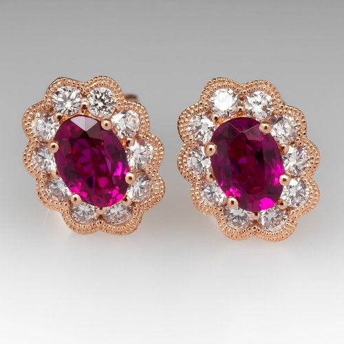 14K Rose Gold Ruby & Diamond Halo Stud Earrings