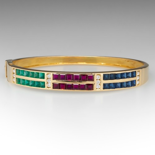 Emerald Ruby Sapphire & Diamond Bracelet 18K Yellow Gold