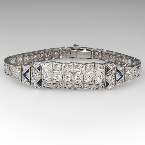 Magnificent Art Deco Diamond Bracelet w/ Sapphire Accents Platinum