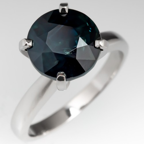 Very Dark 4.5 Carat Blue-Green Sapphire Solitaire Ring Platinum