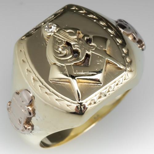 Antique Mens Masonic Ring Heavy 14K Gold Circa 1927