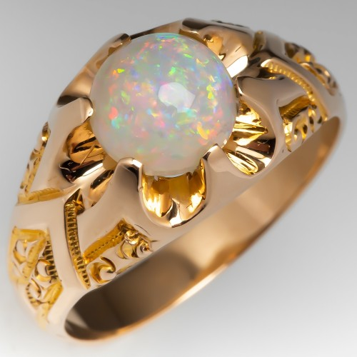 Mens Opal Ring Engraved Details Claw Setting