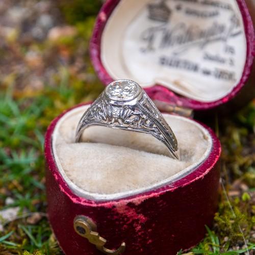 Vintage Filigree Bezel Transitional Cut Diamond Engagement Ring 18K