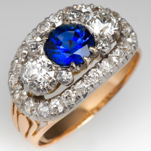 Vintage Blue Sapphire & Old Euro Diamond Ring 18K & Plat