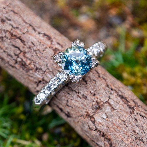 Icy Blue Green No Heat Sapphire Engagement Ring Platinum