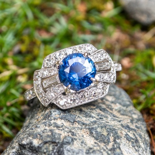 Vintage Blue Sapphire & Diamond Engagement Ring Platinum