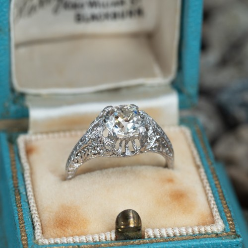 1.25 Carat Old Mine Cut Diamond Platinum Engagement Ring