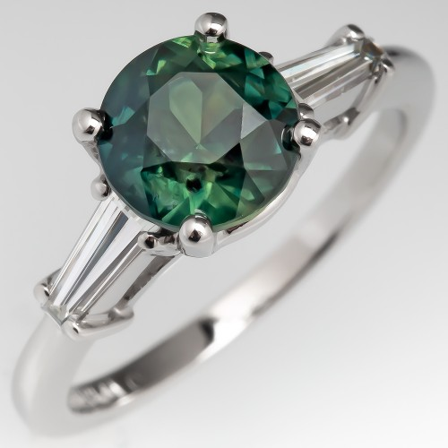 Green Sapphire Engagement Ring Platinum w/ Tapered Baguette Diamonds