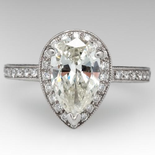 Beautiful Pear Cut Diamond Halo Beverly K Engagement Ring Platinum