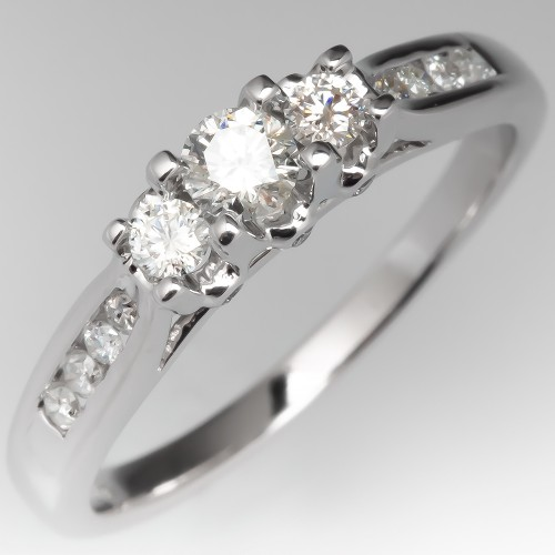 Three Stone Modern Petite Engagement Ring 14K White Gold