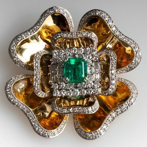 Emerald & Diamond Vintage Brooch Pin Pendant Necklace 18K Gold