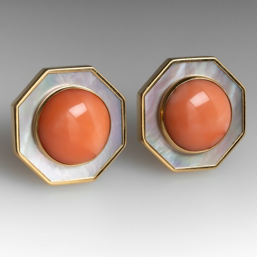 Beautiful Large Coral & Mother Of Pearl Earrings 14K Gold