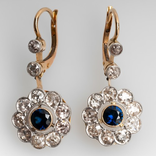 Blue Sapphire & Old European Cut Diamond Floral Earrings Platinum & 14K