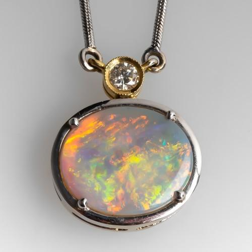White Opal & Diamond Necklace 18K Gold