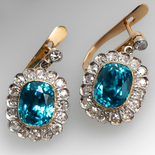 Vintage Blue Zircon & Diamond Dangle Earrings Platinum & 18K