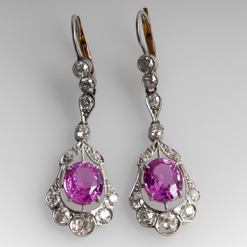 Stunning Antique Pink Sapphire Drop Earrings Floral Platinum
