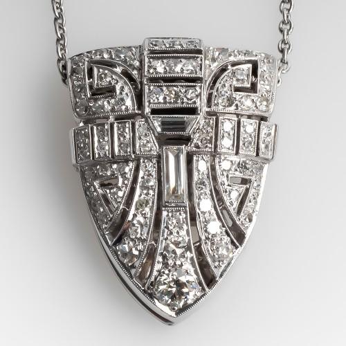 Vintage Diamond Clip Pendant Necklace Platinum 1950's
