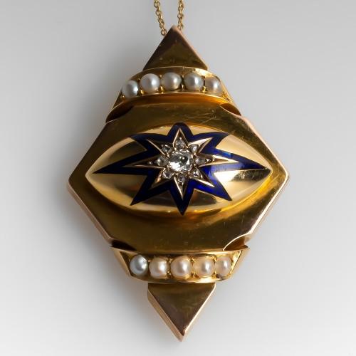 Victorian Locket Pendant Necklace Diamonds Pearls & Blue Enamel