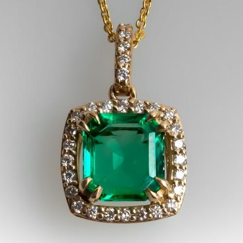 Emerald & Diamond Halo Slide Pendant Necklace 14K Gold