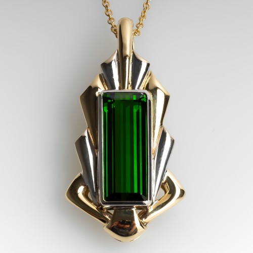 Large Emerald Cut Green Tourmaline Pendant Necklace 18K Gold