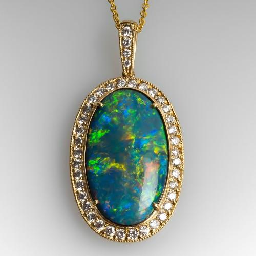 Magnificent Black Opal & Diamond Slide Pendant Necklace
