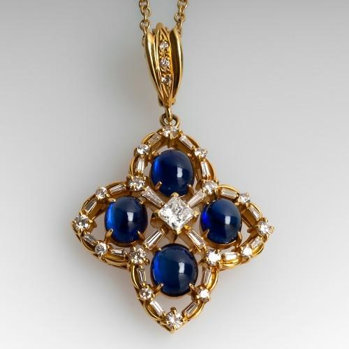 Blue Sapphire & Diamond Pendant Necklace 18K Yellow Gold