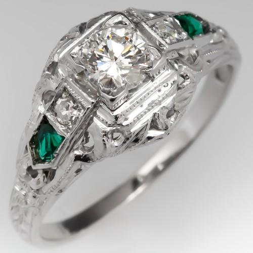 Lovely Vintage Filigree Diamond Engagement Ring 18K White Gold