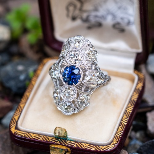 Sapphire & Old Euro Diamond Antique Filigree North to South Dinner Ring