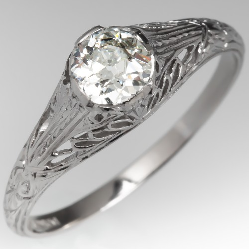 1/2 Carat Old European Cut Diamond 1920's Filigree Engagement Ring
