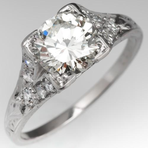 Vintage Engraved Engagement Ring 1.3 Carat Diamond Platinum