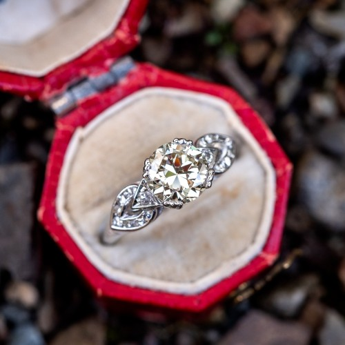 Transitional Cut Diamond Vintage Engagement Ring Platinum w/ Details