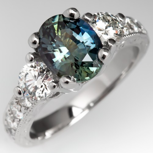 No Heat Teal Sapphire Engagement Ring Platinum w/ Diamonds
