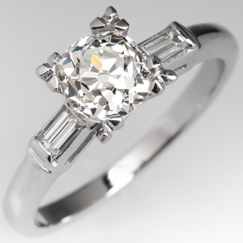 Heirloom Old Mine Cut Diamond Vintage Baguette Engagement Ring
