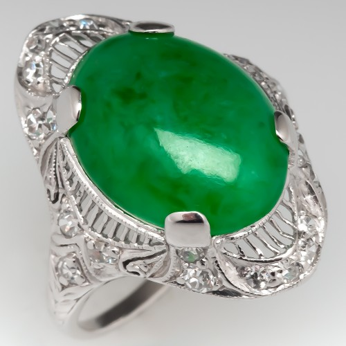 Art Deco Untreated Jadeite A-Jade Ring Filigree & Diamonds