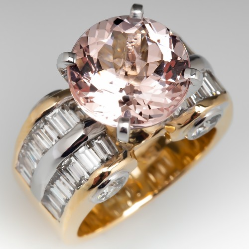 Large Morganite Cocktail Ring w/ Diamonds Yellow Gold